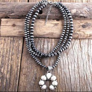 NEW Howlite Squash Blossom beaded necklace
